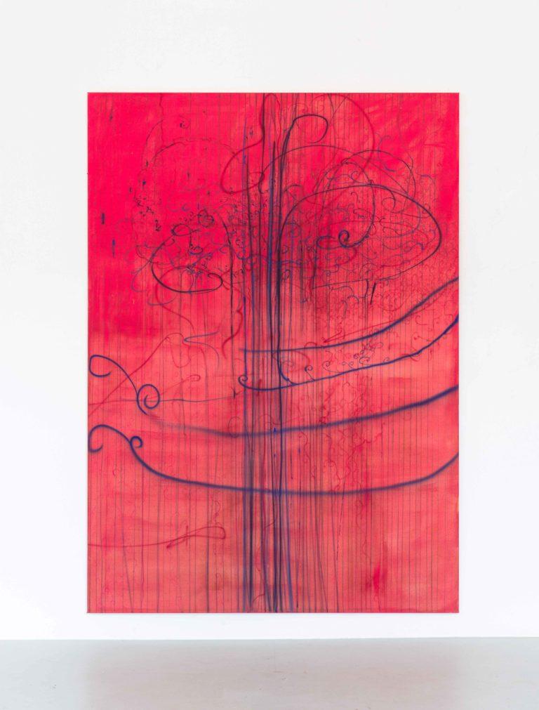 Abstrakt maleri i pink nuance.