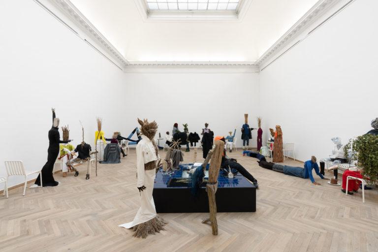 Rasmus Myrup, Salon des Refusés, 2020, Installation with natural materials and clothing. Courtesy: Rasmus Myrup and Jack Barrett Gallery, New York. Photo: David Stjernholm