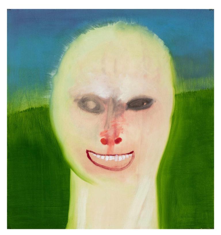 Dæmonisk ansigt på grøn og blå baggrund.